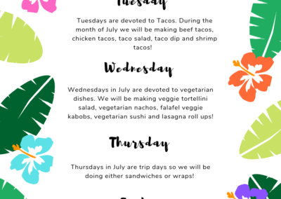 July's Meal Plan