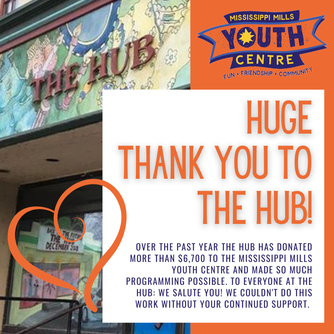 Thank you to The Hub for supporting youth Programming