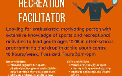 NOW HIRING PART TIME SPORTS AND RECREATION FACILITATOR